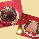 Bomba de chocolate y mousse de frambuesas